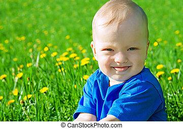 klein kind, de, jongen, toneelstukken, op, een, groene weide