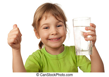 klein kind, drinken water, van, glas, container