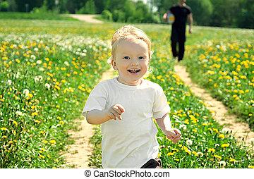 klein kind, spel met, de, vader, op, een, zomer, weide