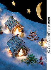 klein, lebkuchenhäuser, in, der, schnee