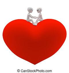 klein, love., frau, mann, 3d