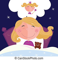 klein, m�dchen, träumende, eingeschlafen