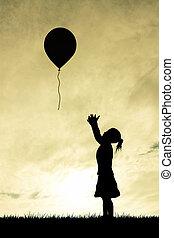 klein meisje, balloon