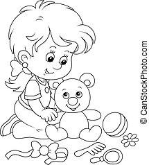 klein meisje, beer, teddy