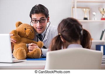 klein meisje, bezoeken, arts, voor, regelmatig, controle