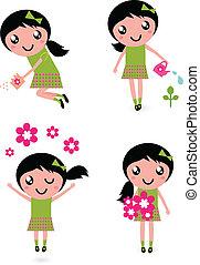 klein meisje, bloemen, vrijstaand, schattig, lente, witte