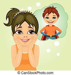 klein meisje, dromen ongeveer, superhero, jongen