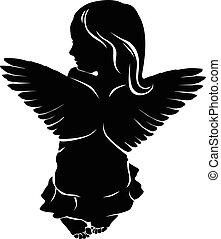 klein meisje, engel vleugels
