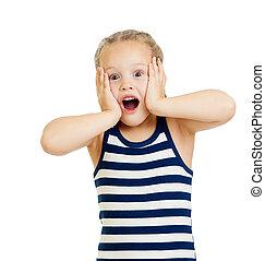 klein meisje, geitje, verwonderd, met, handen, haar, gezicht, vrijstaand, op wit, achtergrond