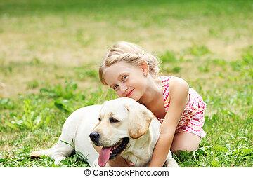 klein meisje, haar, dog