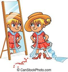 klein meisje, hebbend plezier, het proberen, haar, moeder, schoentjes, en, hat., geitje, in, volwassene, kleding