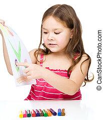 klein meisje, is, het tonen, haar, tekening