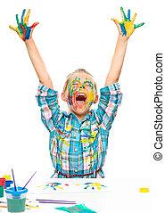 klein meisje, is, opstand, haar, handen op, in, vreugde