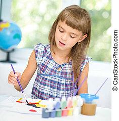 klein meisje, is, schilderij, met, gouache
