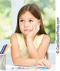 klein meisje, is, tekening, gebruik, potloden