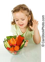 klein meisje, kijken naar, een, kom van groenten