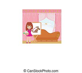 klein meisje, kunstenaar, papier, schilderij, groot, doek, dog
