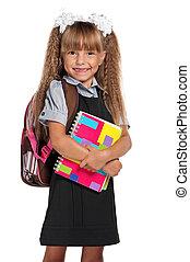 klein meisje, met, boekjes