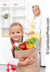 klein meisje, met, de, kruidenierswaren, zak