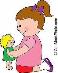 klein meisje, met, een, baby-doll
