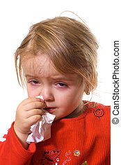 klein meisje, met, een, ernstig, griep
