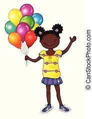 klein meisje, met, kleurrijke ballons
