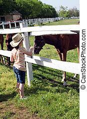 klein meisje, met, paarden, boerderij, scène