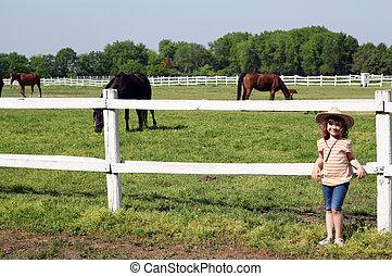 klein meisje, met, paarden, op, boerderij
