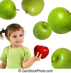 klein meisje, met, rijp, rode appel