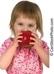 klein meisje, met, rode appel