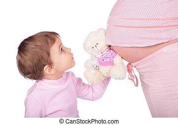 klein meisje, met, speelbal, en, zwangere