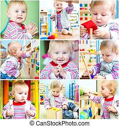 klein meisje, op, school, vroeg, ontwikkeling