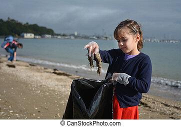 klein meisje, oppakken, vuilnis, van, de, strand