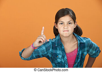 klein meisje, poiting, wijsvinger