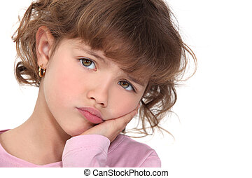 klein meisje, pouting