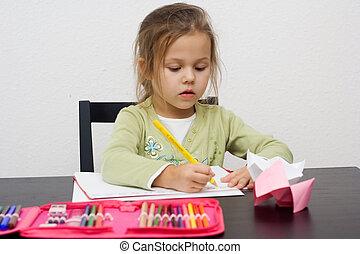klein meisje, schattig, tekening