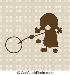 klein meisje, spelend, met, cirkel