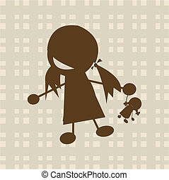 klein meisje, spelend, met, pop