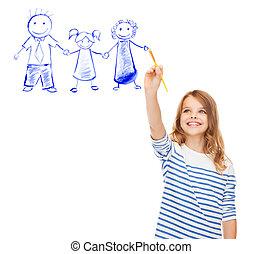klein meisje, tekening, met, borstel, familie beeltenis