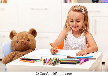 klein meisje, tekening, met, kleur, potloden, -, zitten aan de tafel