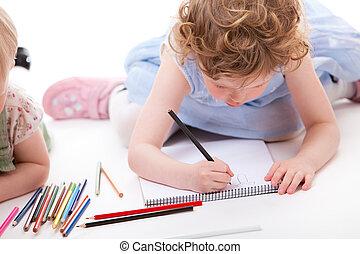 klein meisje, tekening