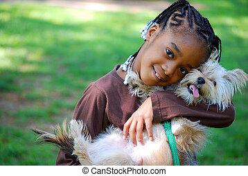 klein meisje, vasthouden, dog