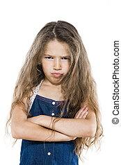 klein meisje, verticaal, frons, gekruiste wapens, blaag,...