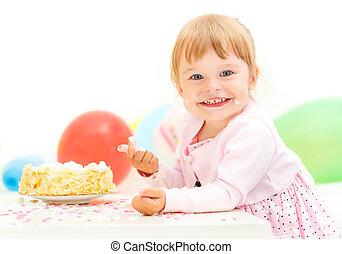 klein meisje, vieren, tweede verjaardag