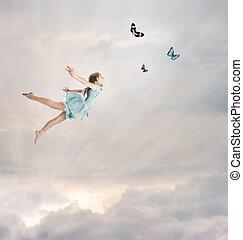 klein meisje, vliegen, op, schemering