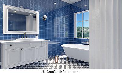 Inneneinrichtung, badezimmer, 3d. Badezimmerboden, wände, schwarz ...