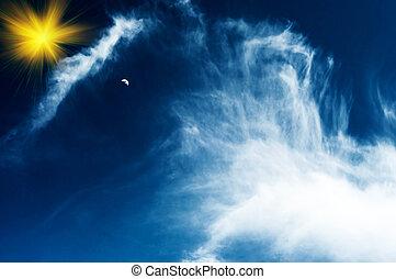 klein, mond, in, der, blaues, sky.
