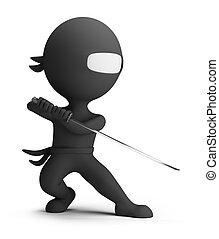 klein, ninja, 3d, -, leute