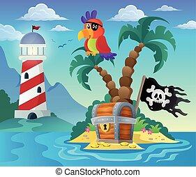 klein, pirat, insel, thema, 3