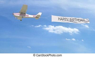 klein, propeller- flugzeug, schleppen, banner, mit, alles...